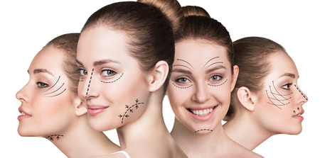 Foto de Anti aging treatment and plastic surgery concept. Beautiful faces of young woman with arrows isolated on white - Imagen libre de derechos