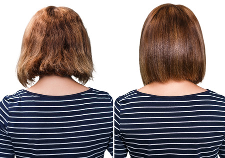 Comparative portrait of damaged hair before and after treatment