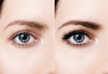Photo pour Comparison of female eyes before and after makeup and eyelash extension - image libre de droit