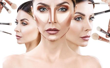 Photo pour Adult woman with make-up brushes near face. - image libre de droit