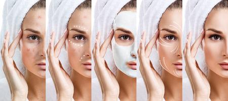 Photo pour Woman step by step improves her skin condition. - image libre de droit