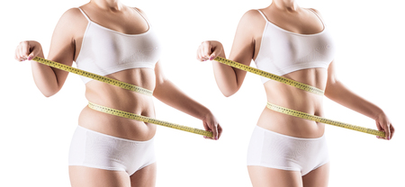 Photo pour Womans body before and after weight loss. - image libre de droit