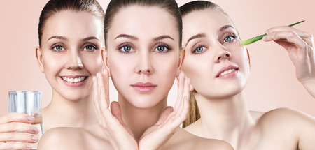 Photo for Young woman shows process of skin cleansing. - Royalty Free Image
