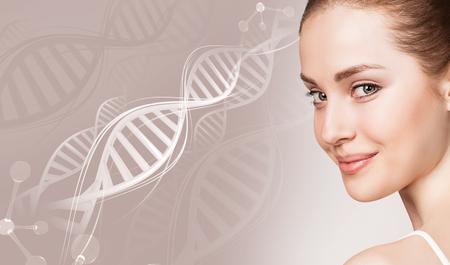 Photo pour Portrait of sensual woman in DNA chains. - image libre de droit