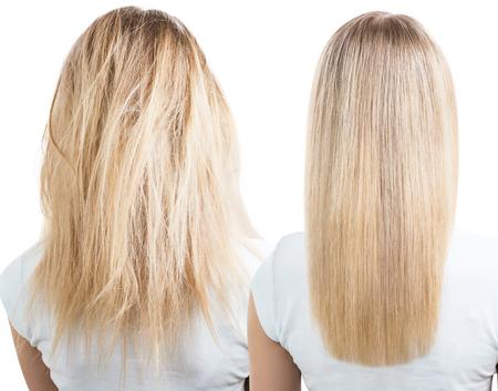 Photo pour Blonde hair before and after treatment. - image libre de droit