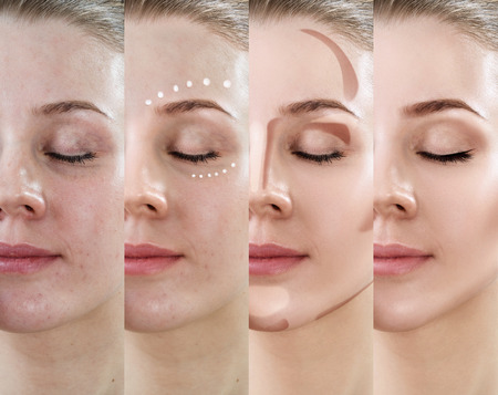Woman applying makeup step by step.