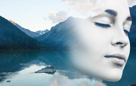 Photo pour Young woman and nature landscape. - image libre de droit