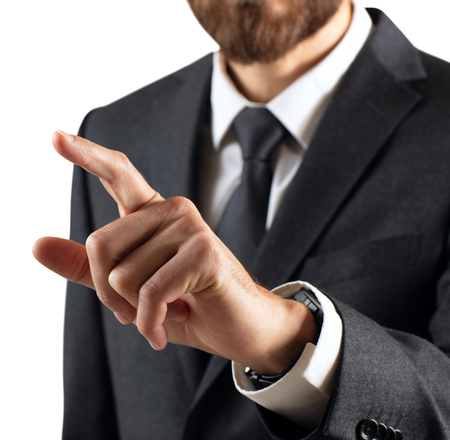 Photo pour Business man with pointing to something or touching by forefinger. - image libre de droit