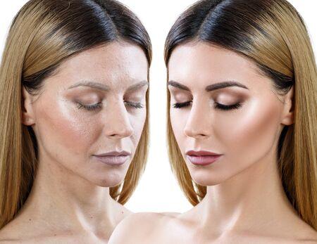 Photo pour Woman before and after skin treatment and makeup. - image libre de droit