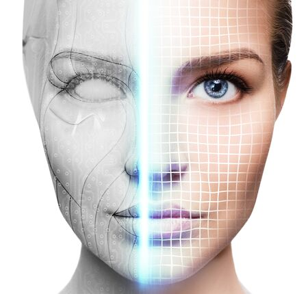 Photo for Cyborg woman with machine part of her face being scanned. - Royalty Free Image