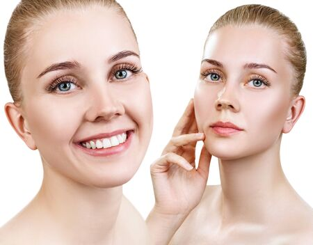 Photo for Collage of beautiful woman with perfect clean skin. - Royalty Free Image