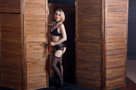 Sexy blond dominant woman holds whip over wooden folding panel