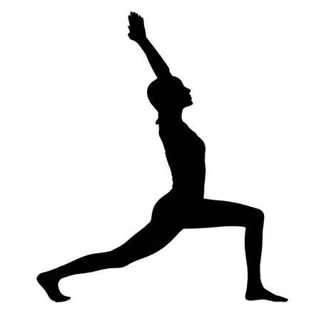 Photo pour Black silhouette of woman doing yoga exercise. - image libre de droit