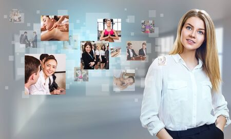 Photo for Business woman looks on images with her different hobbies. - Royalty Free Image
