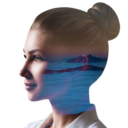 Photo for Double exposure of young beautiful woman and clouds sea. - Royalty Free Image