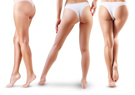 Photo for Collage of perfect female legs and buttocks from back and side view. - Royalty Free Image