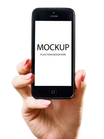 Photo for Modern smartphone black color with blank screen. Copy space. - Royalty Free Image