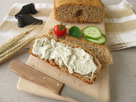 Bread from bread maker with vegetarian spread