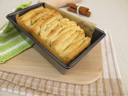 Pull-Apart Bread-with sugar and cinnamon in loaf pan