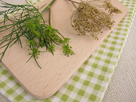 Fresh and dried dill leaves