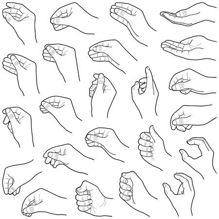 Illustration pour Hand collection - vector line illustration - image libre de droit