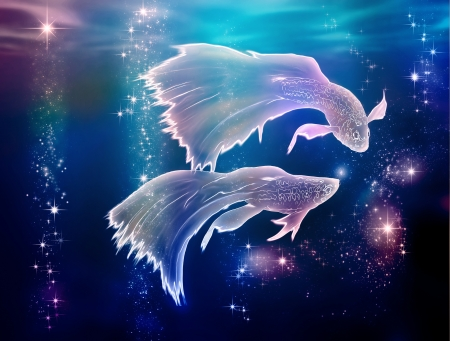 Fairy tale begins where life began  Pisces is an astrological sign  They are floating on the Milky Way in Space