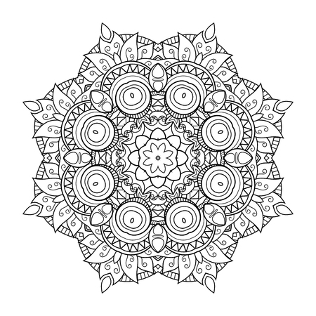 Illustration pour Vector Monochrome Mandala. Ethnic Decorative Element. Round Abstract Object Isolated On White Background - image libre de droit