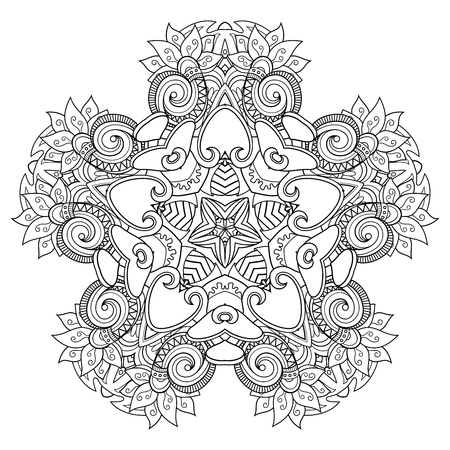 Illustration pour Vector Monochrome Star. Ethnic Decorative Element. Abstract Object Isolated On White Background - image libre de droit
