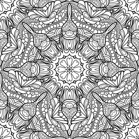 Illustration pour Vector Seamless Monochrome Pattern. Printable Coloring Pages. Hand Drawn Decorative Scales - image libre de droit