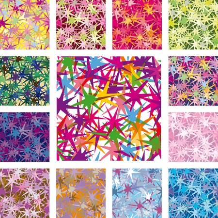 Illustration for a set of seamless patterns. Star of irregular shape with the effect of transparency - Royalty Free Image