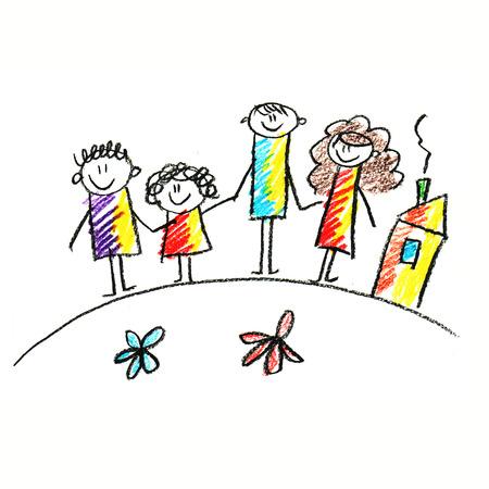 Photo pour Colorful picture of happy family. Kids drawing style - image libre de droit