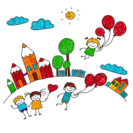 Illustration pour illustration of happy children playing with balloons at school yard. Kids drawing style - image libre de droit