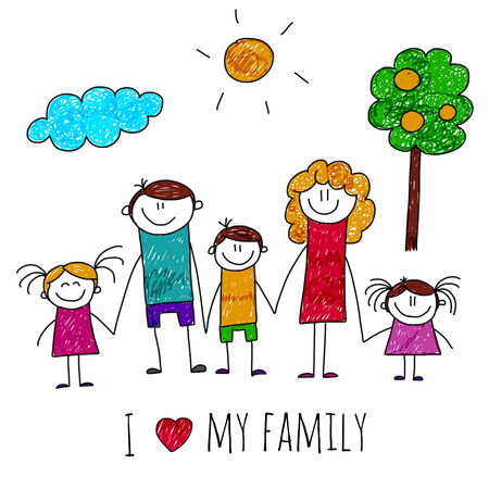 Illustration for image of big happy family. Kids drawing - Royalty Free Image