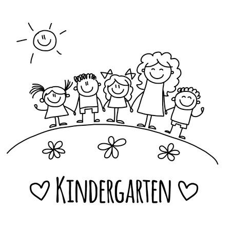 Illustration pour Image with Kindergarten or school kids Hand drawn picture - image libre de droit