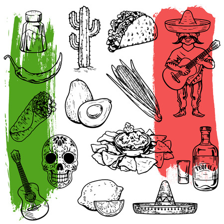 Mexican cuisine and culture Hand drawn vector images