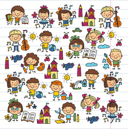 Illustration pour Kindergarten School Education Study Children Play and grow Kids drawing icons - image libre de droit