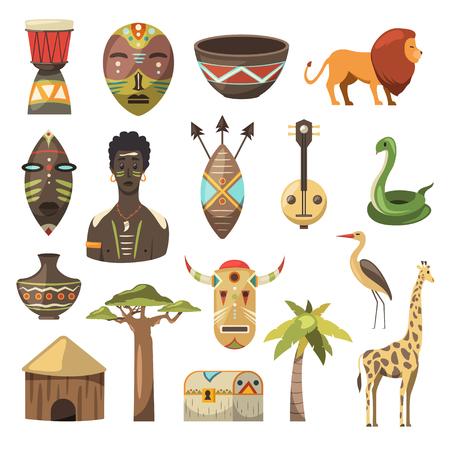 Illustration pour Africa. African images. Vector icons. Giraffe, mask, man, snake, vase, lion, house, palm, baobab - image libre de droit