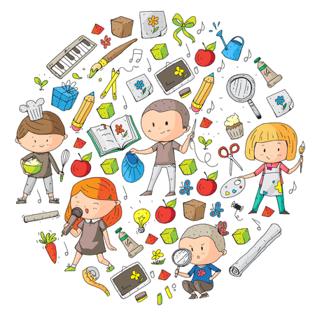 Ilustración de Children. School and kindergarten. Creativity and education. Music. Exploration. Science. Imagination. Play and study. Cooking. Singing. Reading. Different hobby and lessons. Vector illustration - Imagen libre de derechos