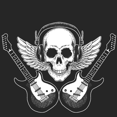 Rock music festival. Cool print for poster, banner, t-shirt. Skull wearing headphones with electric guitar. Heavy metal party. Rock-n-roll star