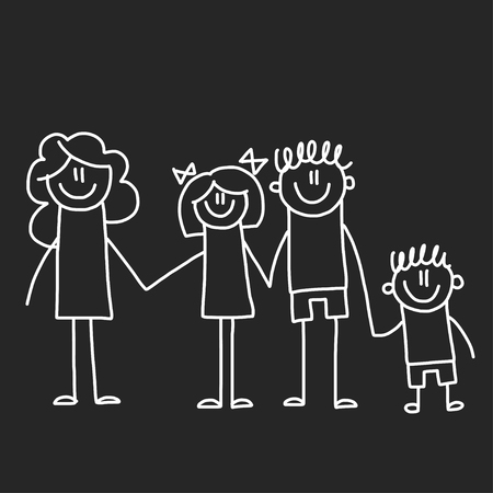 Illustration for Happy family with children. Illustration on blackboard. Kindergarten illustration. - Royalty Free Image