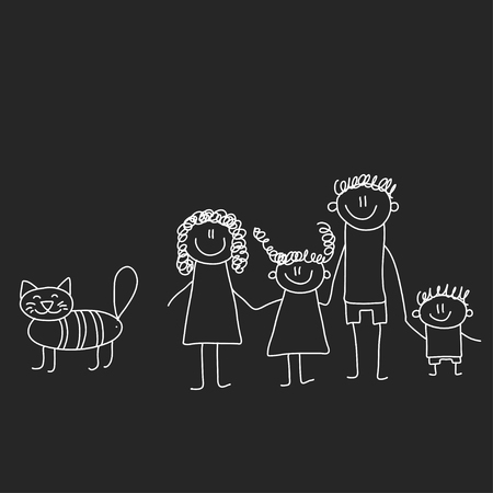 Illustration for Happy family with children. Illustration on blackboard. Kindergarten illustration - Royalty Free Image