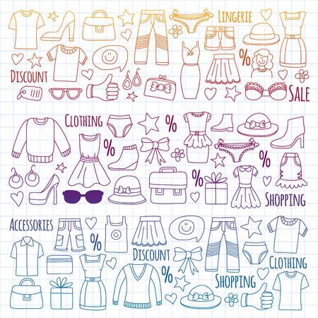 Illustration for Shopping, market, store Clothing and fashion icons - Royalty Free Image