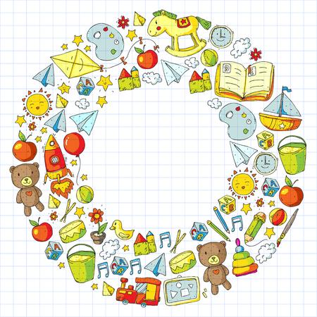 Illustration pour Kindergarten with toys. Pattern for children. Little preschool kids education. Drawing, learning - image libre de droit