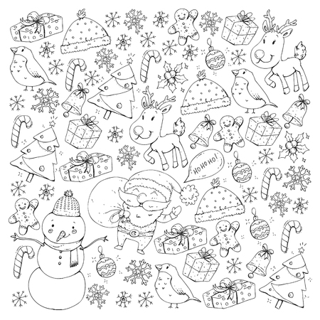 Illustration for Christmas winter party. Happy new year. Bullfinch, Santa Claus, snowman, deer Presents and candy - Royalty Free Image