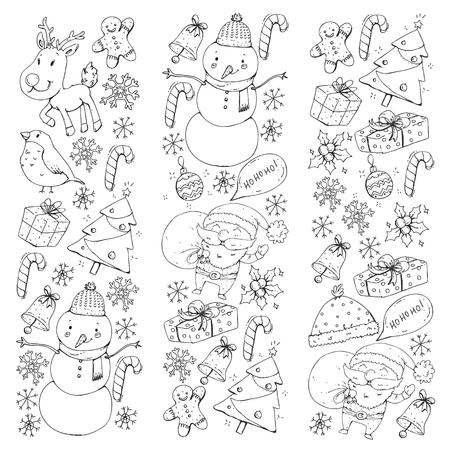 Illustration pour Christmas winter party. Happy new year. Bullfinch, Santa Claus, snowman, deer Presents and candy - image libre de droit