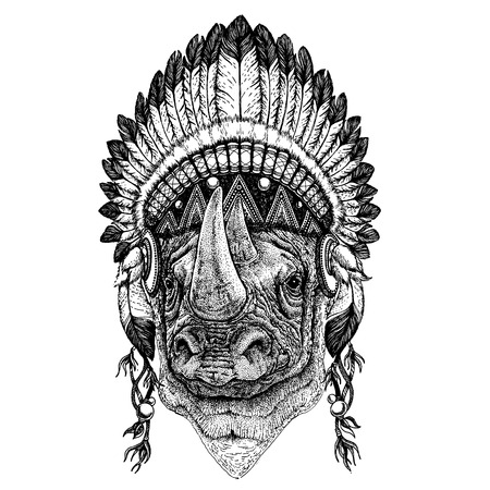 Illustration pour Wild animal wearing inidan headdress with feathers. Boho chic style illustration for tattoo, emblem, badge, logo, patch. Children clothing image - image libre de droit