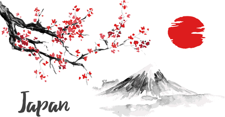 Illustration pour Japan traditional sumi-e painting. Sakura, cherry blossom. Fuji mountain. Indian ink illustration. Japanese picture. - image libre de droit