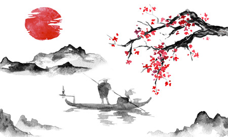 Japan traditional sumi-e painting. Indian ink illustration. Man and boat. Mountain landscape with sakura. Sunset, dusk. Japanese picture.