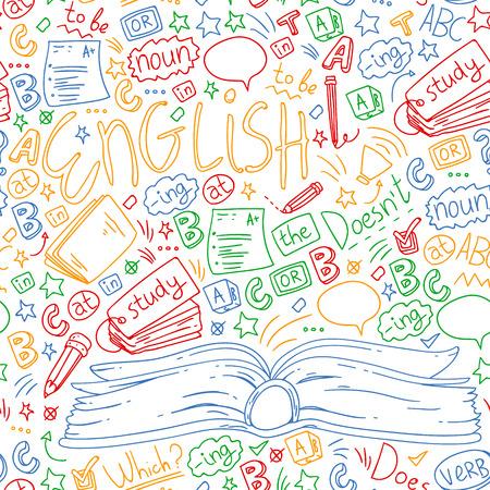 Illustration pour Language school for adult, kids. English courses, class. - image libre de droit