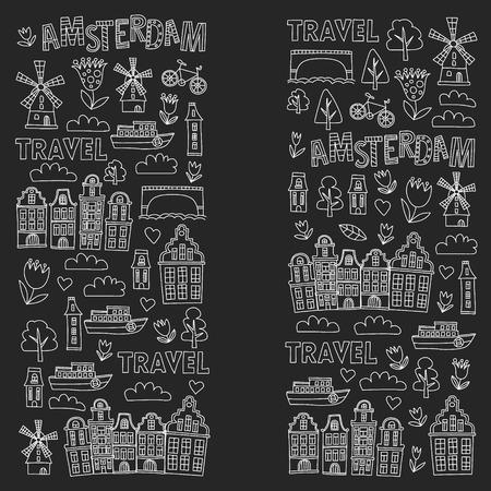 Illustration pour Vector pattern with Holland, Netherlands, Amsterdam icons. Doodle style - image libre de droit